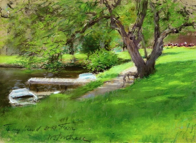 """""""Bank of A Lake In Central Park"""" by William Merritt Chase"""