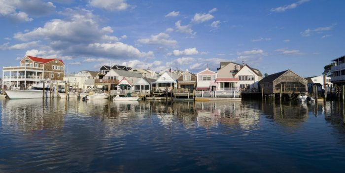 Fishing shacks and cottages on Cape May Harbor