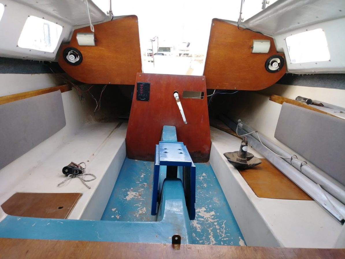 Salon with folding table on the Laguna Windrose 22 MK1 Sailboat