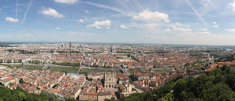 Panorama of the inner city of Lyon, taken from the basilica of Notre-Dame de Fourvière's roof