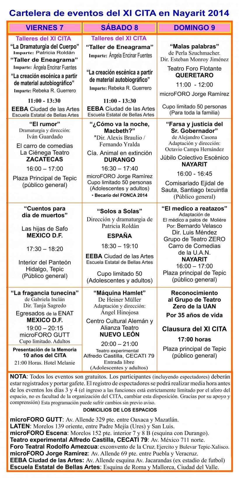 Programa cartelera del XI CITA 2014 3