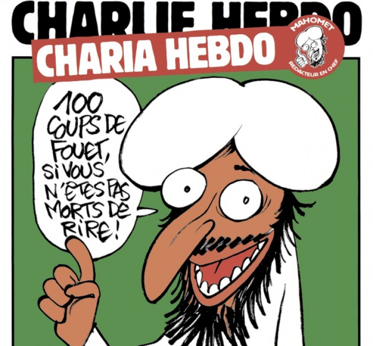 """Portada de Charlie Hebdo del 2 de enero de 2011. El nuevo redactor jefe de """"Sharia Hebdo"""" amenaza con """"cien latigazos si no te mueres de risa"""""""