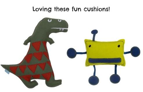 Dinosaur and robot cushions