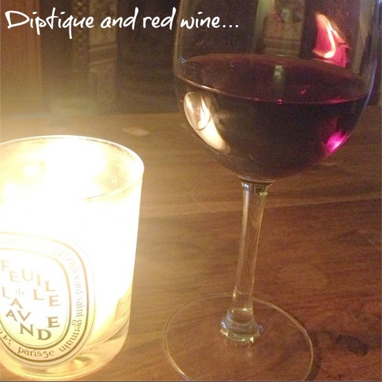 Red wine and Diptyque candle