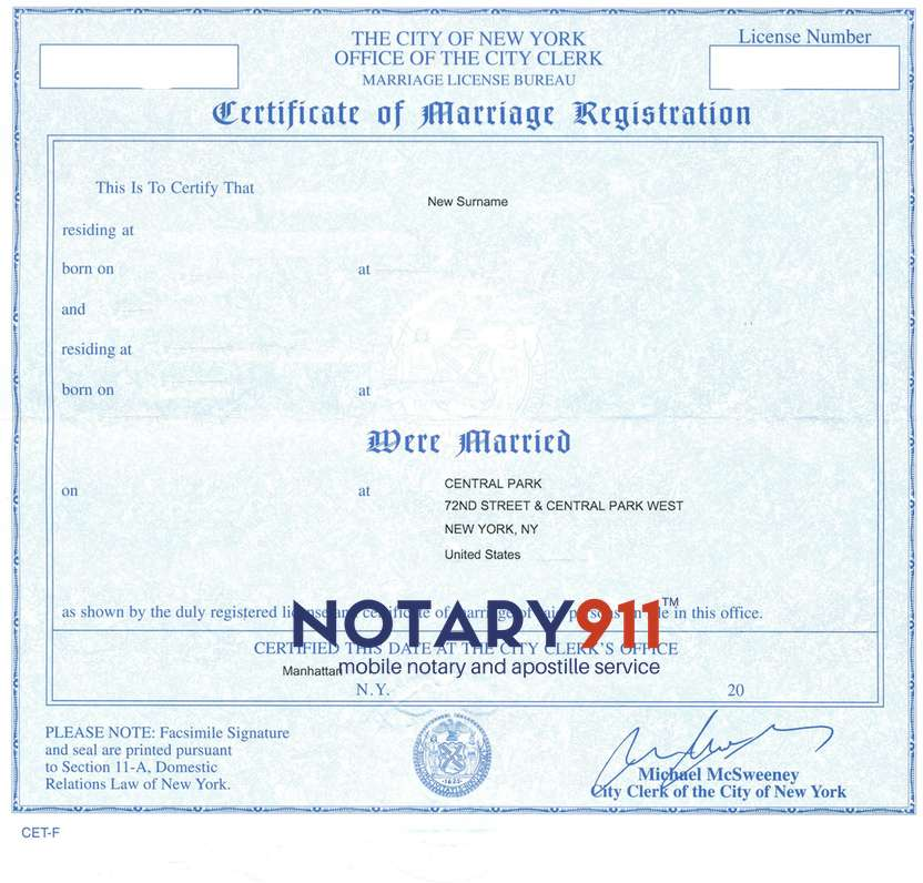 Marriage Certificate Apostille - Same Day Availability