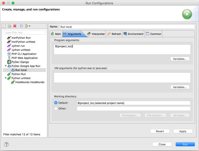 Run Configurations Arguments