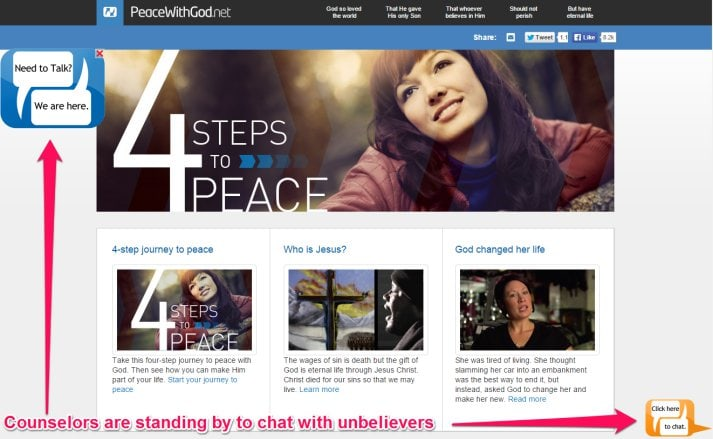 Counselors are standing by online on evangelistic websites