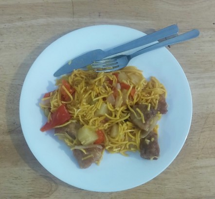 Sweet & Sour Pork on chow mein noodles - Mommy's plate.