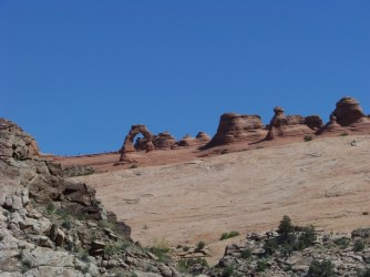Delicate arch from afar.