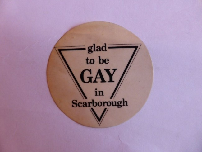 Sticker worn by lesbian and gay 'zappers' at the NAFTHE conference. Photo courtesy of Sybil Gertrude Cock.