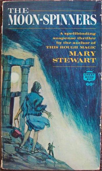 Early paperback cover of The Moonspinners, published by Fawcett Crest