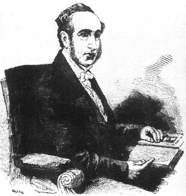 Black and white sketch of Isaac Baker Brown sitting in chair with open book on lap. Dressed in dark coat with white bow tie. Beard and balding head.