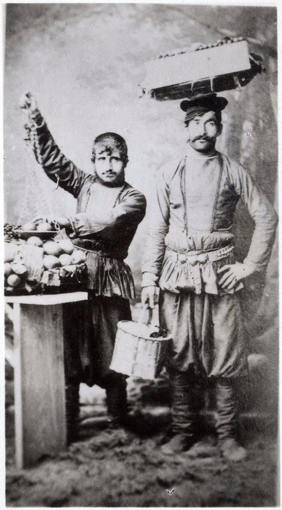Photo of Azeri merchants in Baku. 19th century (Wikimedia Commons.)