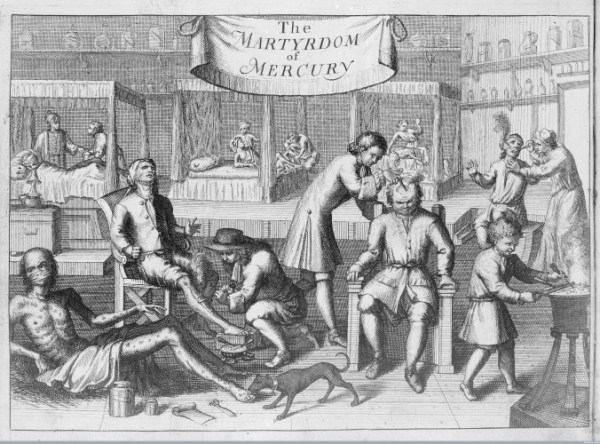 L0017159 The martyrdom of Merury. Credit: Wellcome Library, London. Wellcome Images images@wellcome.ac.uk http://wellcomeimages.org The martyrdom of Merury. The scourge of Venus and Mercury, represented in a treatise of the venereal disease. John Sintelaer Published: 1709 Copyrighted work available under Creative Commons Attribution only licence CC BY 4.0 http://creativecommons.org/licenses/by/4.0/