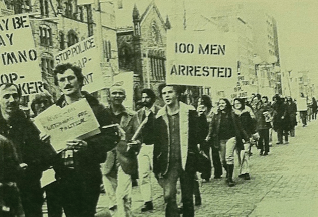 "Demonstrators in front of the Boston Public Library protesting the police crackdown on cruising in the library's restroom. David Brill, ""Demonstration Protests Arrests in Library,"" Gay Community News, April 15, 1978."