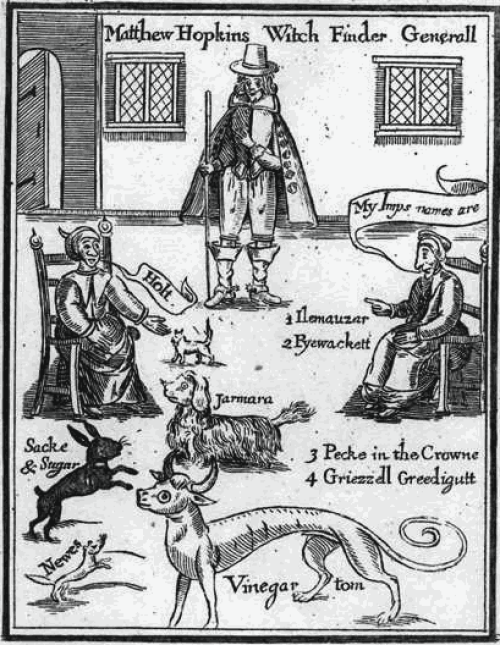 Image 1: Matthew Hopkins, The discovery of witches (1648). This picture shows two witches calling their familiar spirits by name. In the middle is Matthew Hopkins the witch-finder who identified witches across East Anglia. (Wikimedia Commons)