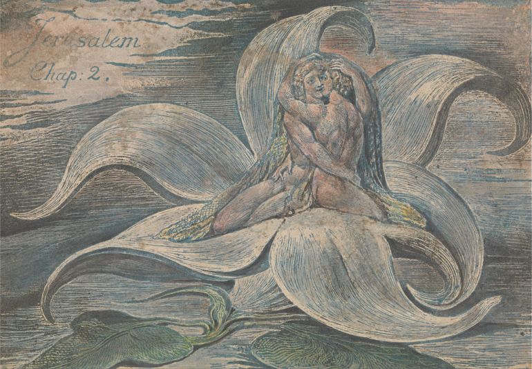 William Blake, 'Couple in a Waterlily', Jerusalem, Ch.2, Plate 28. c. 1820, (Wikimedia Commons)