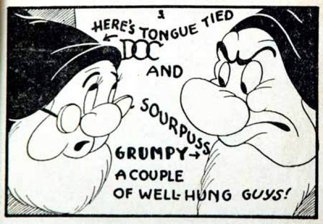 "Page from ""Snow White and the 7 Dwarves,"" a Tijuana Bible. Tijuana Bibles were pornographic comic books reaching peak popularity during the Depression Era in the United States. They often parodied famous cartoon characters."