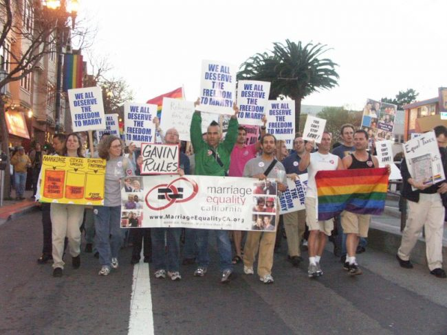 San Francisco pro gay marriage protest in 2004 (via Wikimedia Commons)
