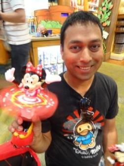 Buying souvenir at Disneyland