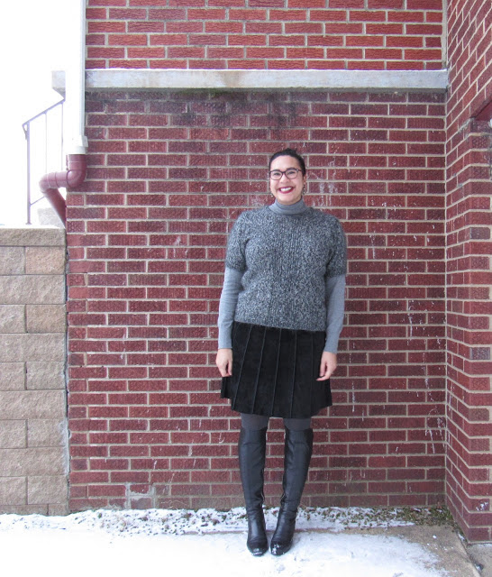 gracey the giant in fuzzy sweater, t-neck sweater, suede skirt & otk boots 8