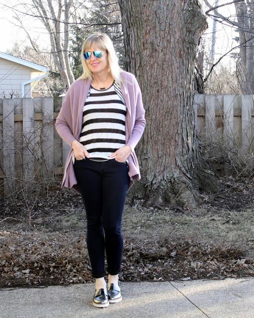 Jill in striped tee