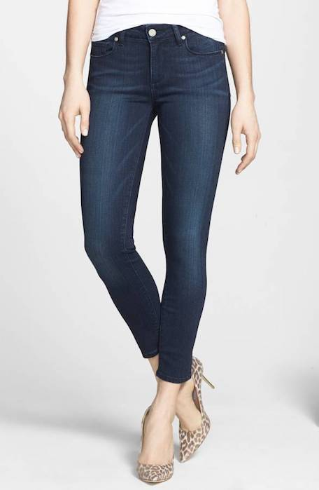 A fresh pair of dark denim skinny cropped jeans. To wear with comfortable booties and oxfords, not heels for moi.