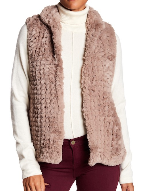 This simple faux fur vest will go with just about everything in my closet.