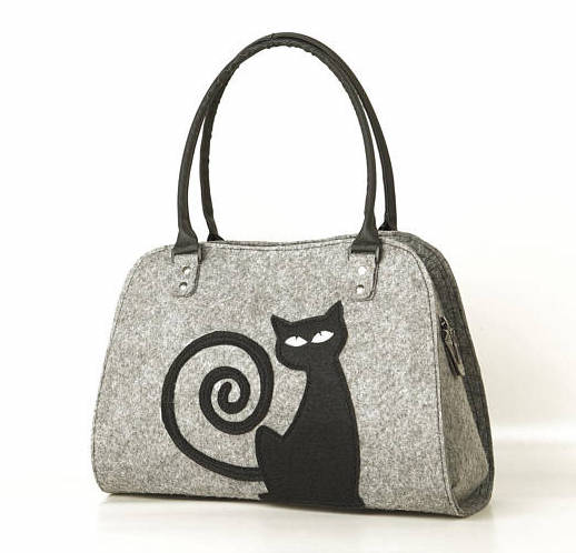 Loving this felt purse with an art-kitty. This one's under $35, love that too.