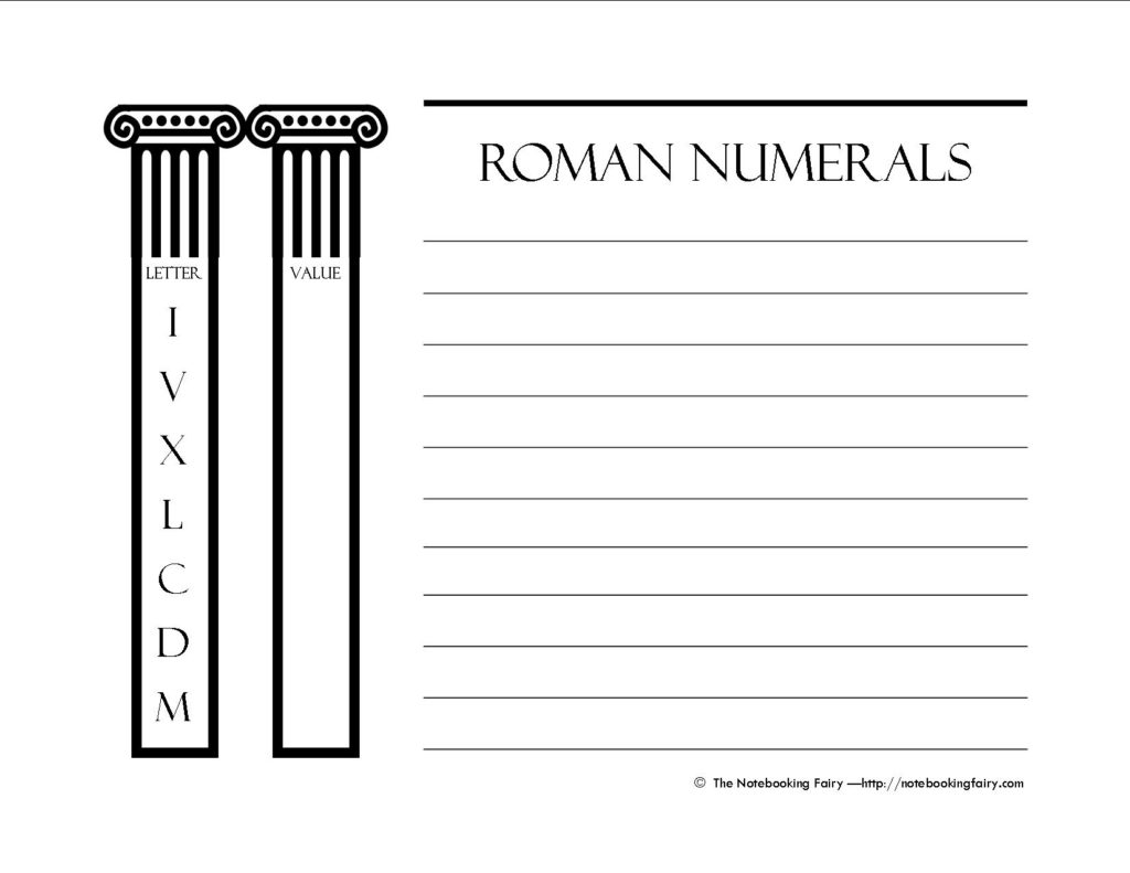 Roman Numerals Notebooking Pages