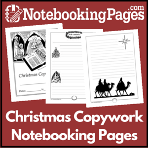 Christmas Themed Copywork Notebooking Pages