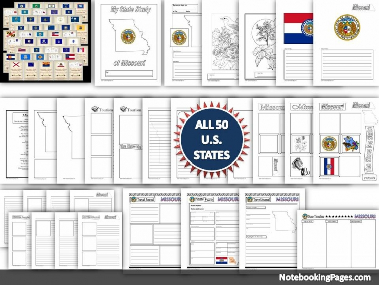 USA State Study Notebooking Pages