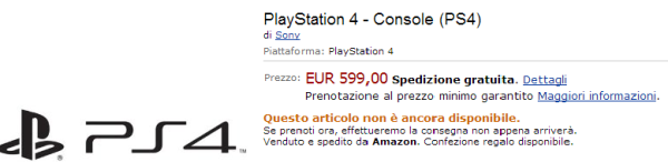 Playstation 4 su Amazon Italia