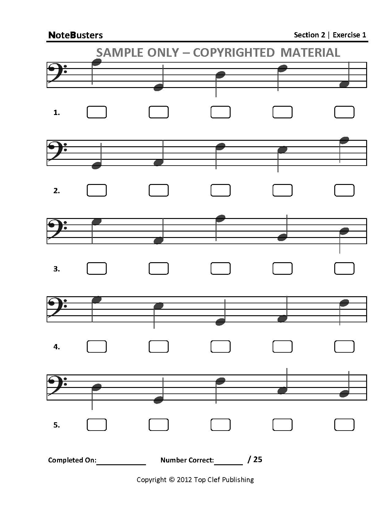 Notebusters Note Reading Music Workbook Section 2 Sample