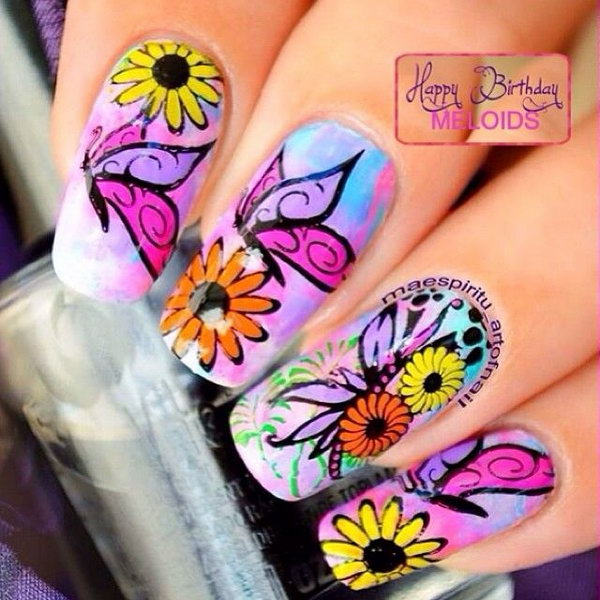 30 Pretty Butterfly Nail Art Designs Noted List