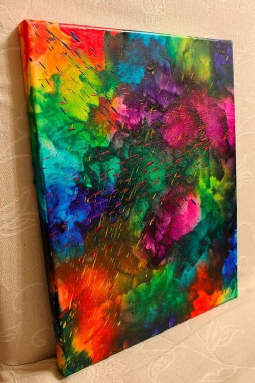 DIY Wall Decor Art Melted Crayons Crayon Crayola Canvas Hair Dryer Heat Gun Drip Abstract