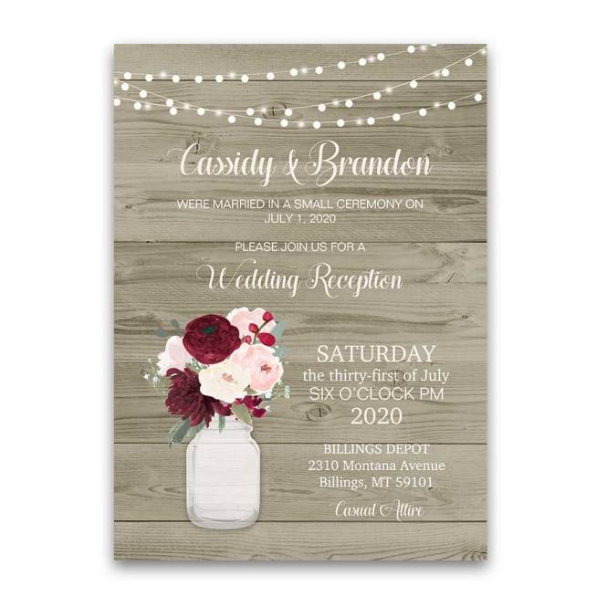 Rustic Wedding Reception Only Invitation Mason Jar