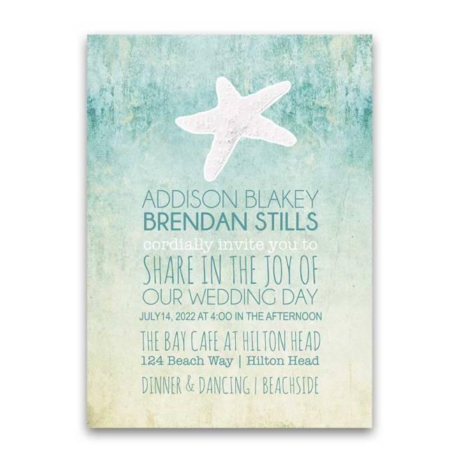 Beach Wedding Invitations Watercolor Starfish Modern Design