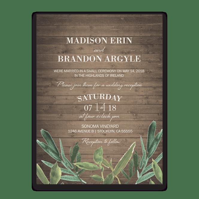 Vintage Post Wedding Reception Invitations