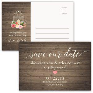 Rustic Fl Birdcage Wedding Save The Date Postcard