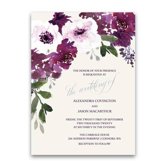 Plum Fl Wedding Invitations Watercolor Greenery With