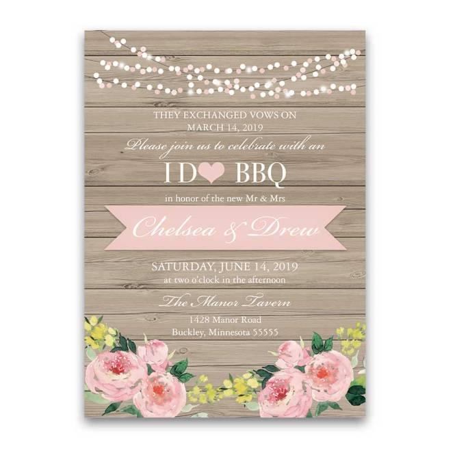 I Do Bbq Wedding Reception Only Invitation Blush Fl