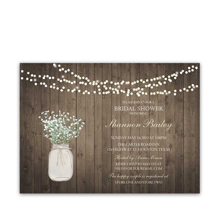Rustic Mason Jar Wedding Invitations Lights