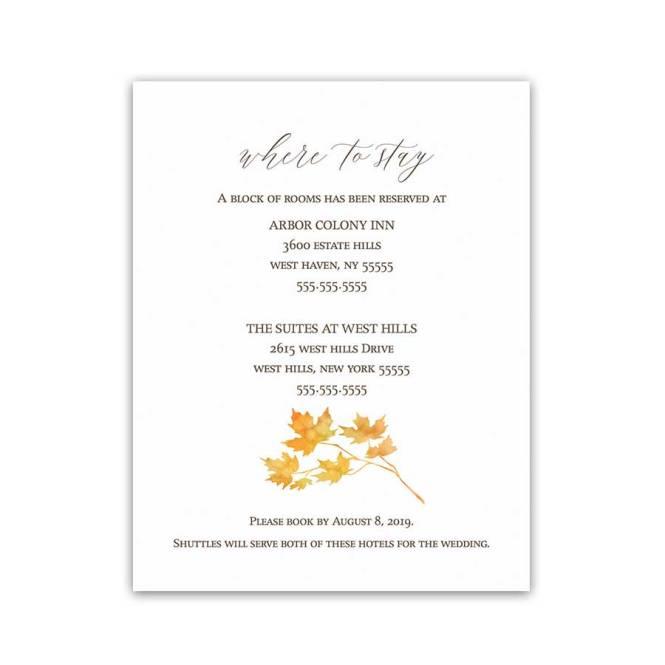 Simple Wedding Information Card