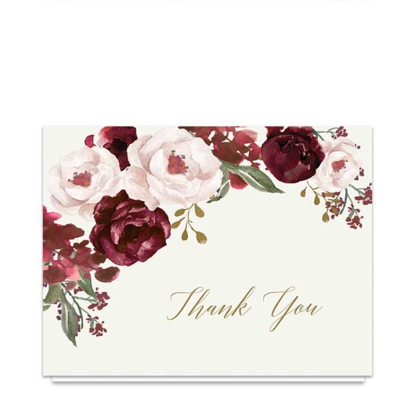 Wedding Thank You Cards Burgundy Gold Watercolor Floral