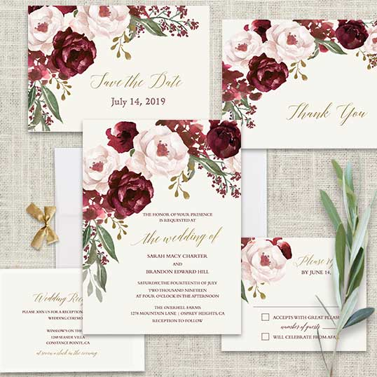 Fall Wedding Invitations Burgundy Wine Gold Blush Fl