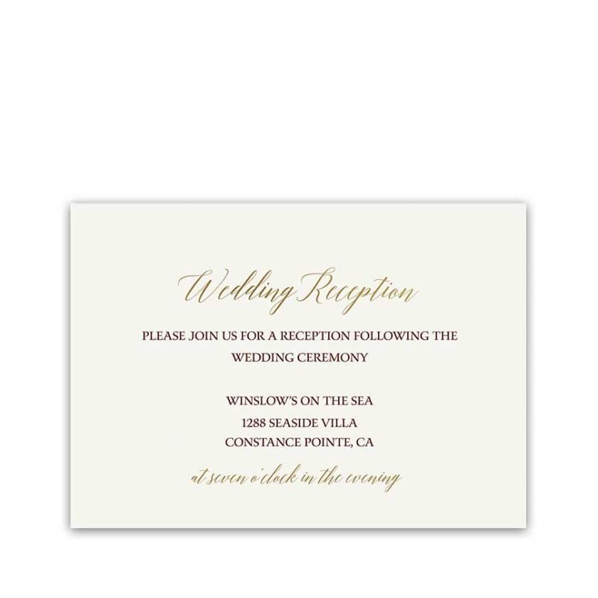 Gold Wedding Reception Information Cards