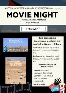 FREE MOVIE NIGHT: Western Sahara Mini Docos 6.30-8.30pm, Thurs 20 September Leichhardt Town Hall   Australia Western Sahara Association