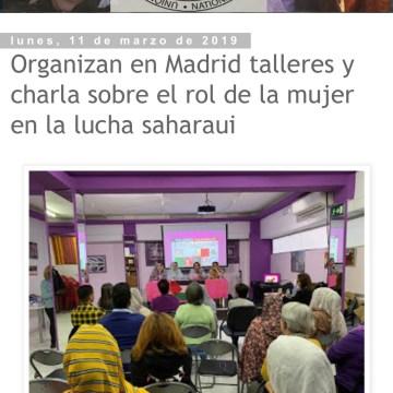 Organizan en Madrid talleres y charla sobre el rol de la mujer en la lucha saharaui