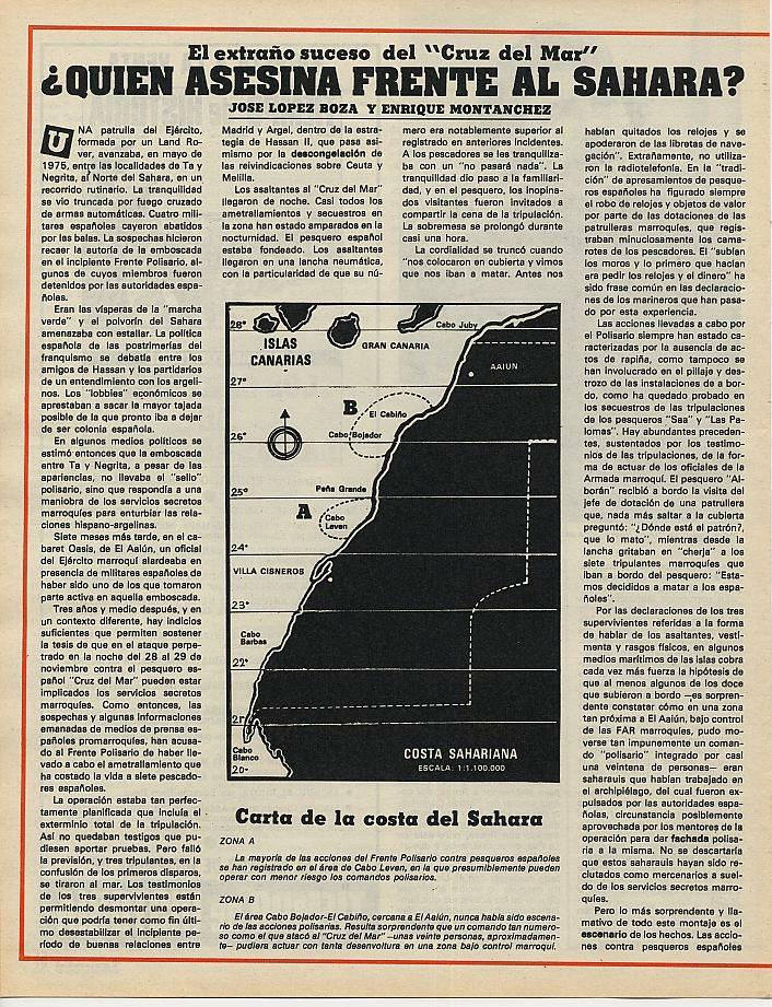 Hemeroteca REVISTA TRIUNFO: El extraño suceso del «Cruz del mar» | Fecha de Publicación: 09-12-1978